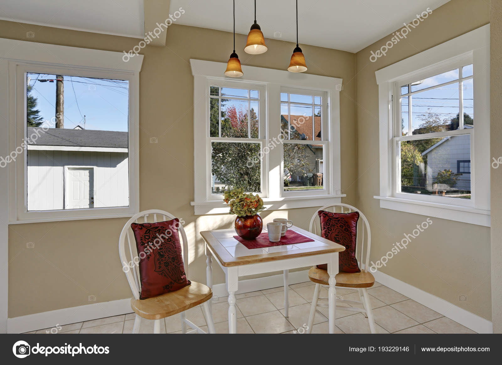 Light and bright breakfast nook with a