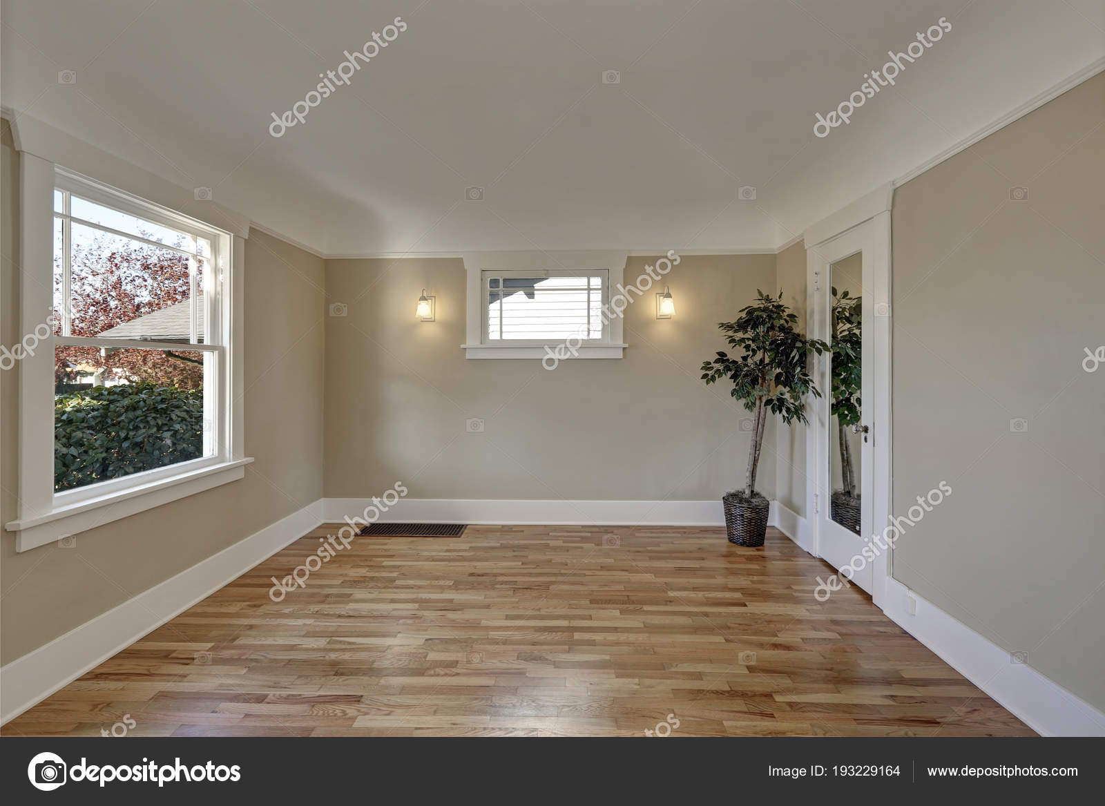 Empty Room Interior With Taupe Brown Walls Hardwood Floor Stock Photo