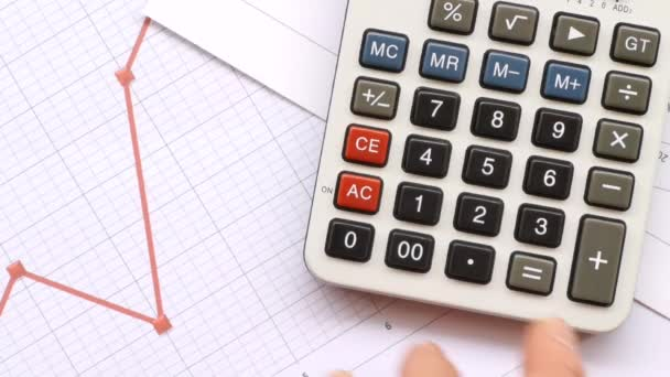 male hand working on calculator next to graphs