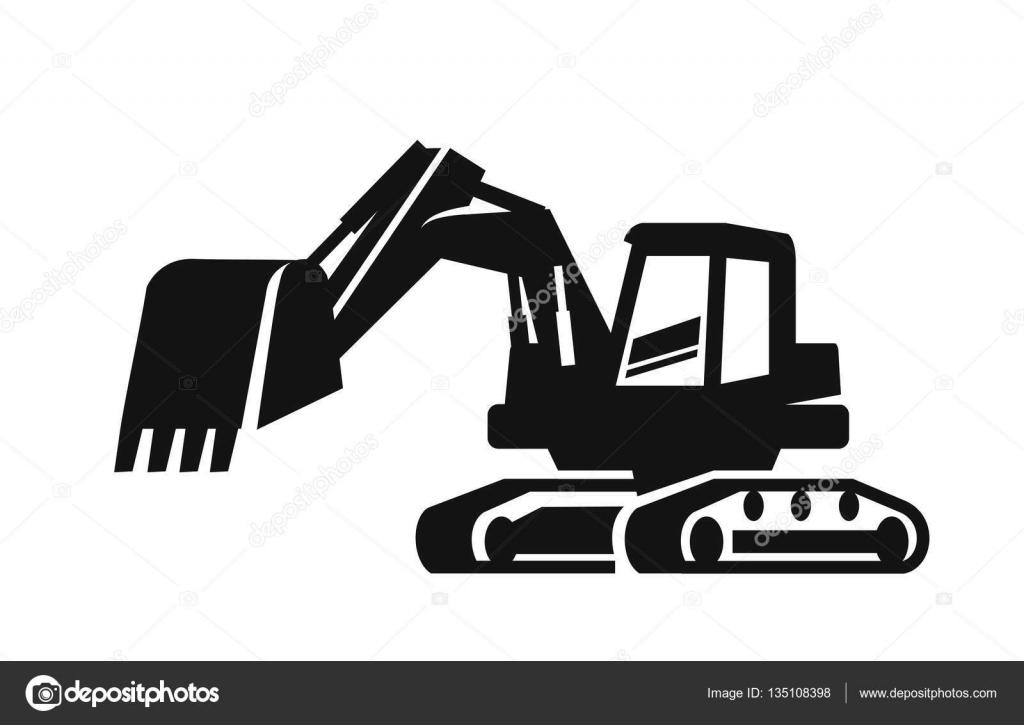 Vector black Excavator — Stock Vector © bioraven #135108398