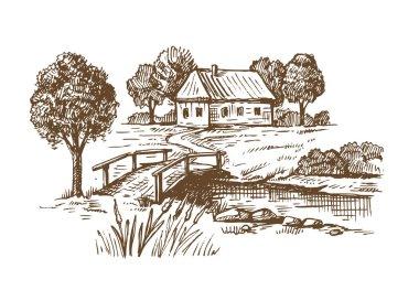 hand drawn village