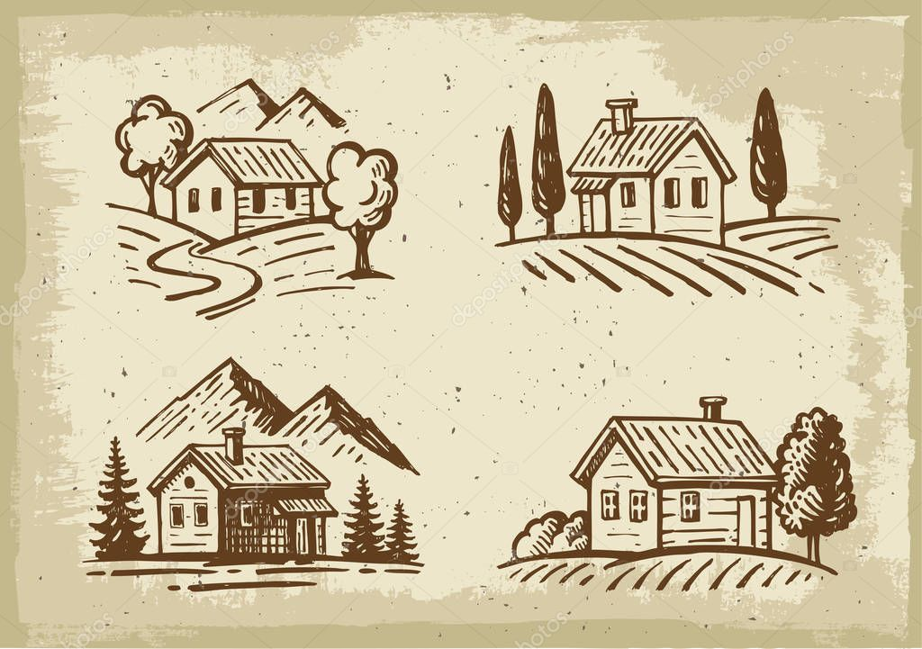 vector summer cottage