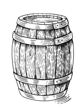Vector wood barrel