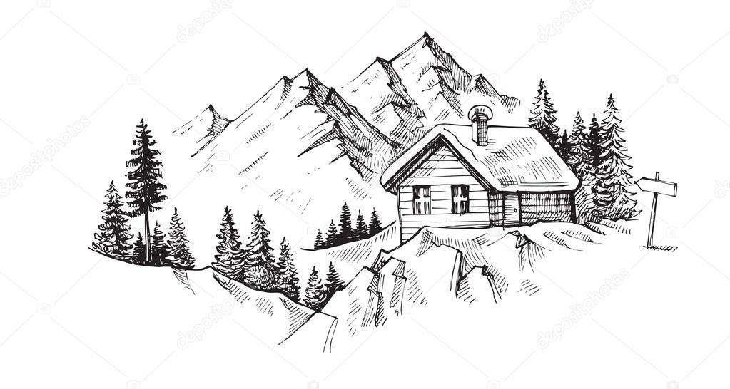 Hand drawn mountains