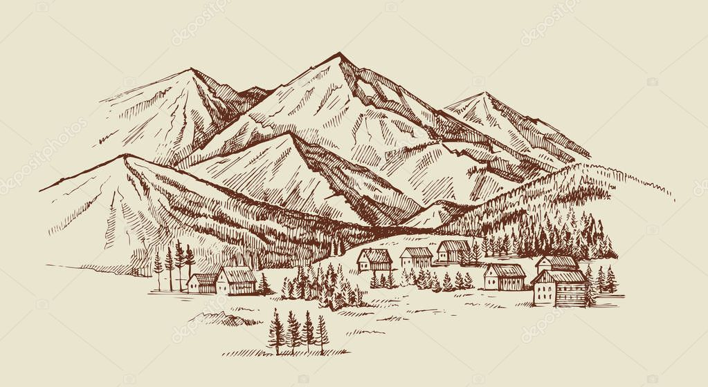 mountain landscape vector illustration