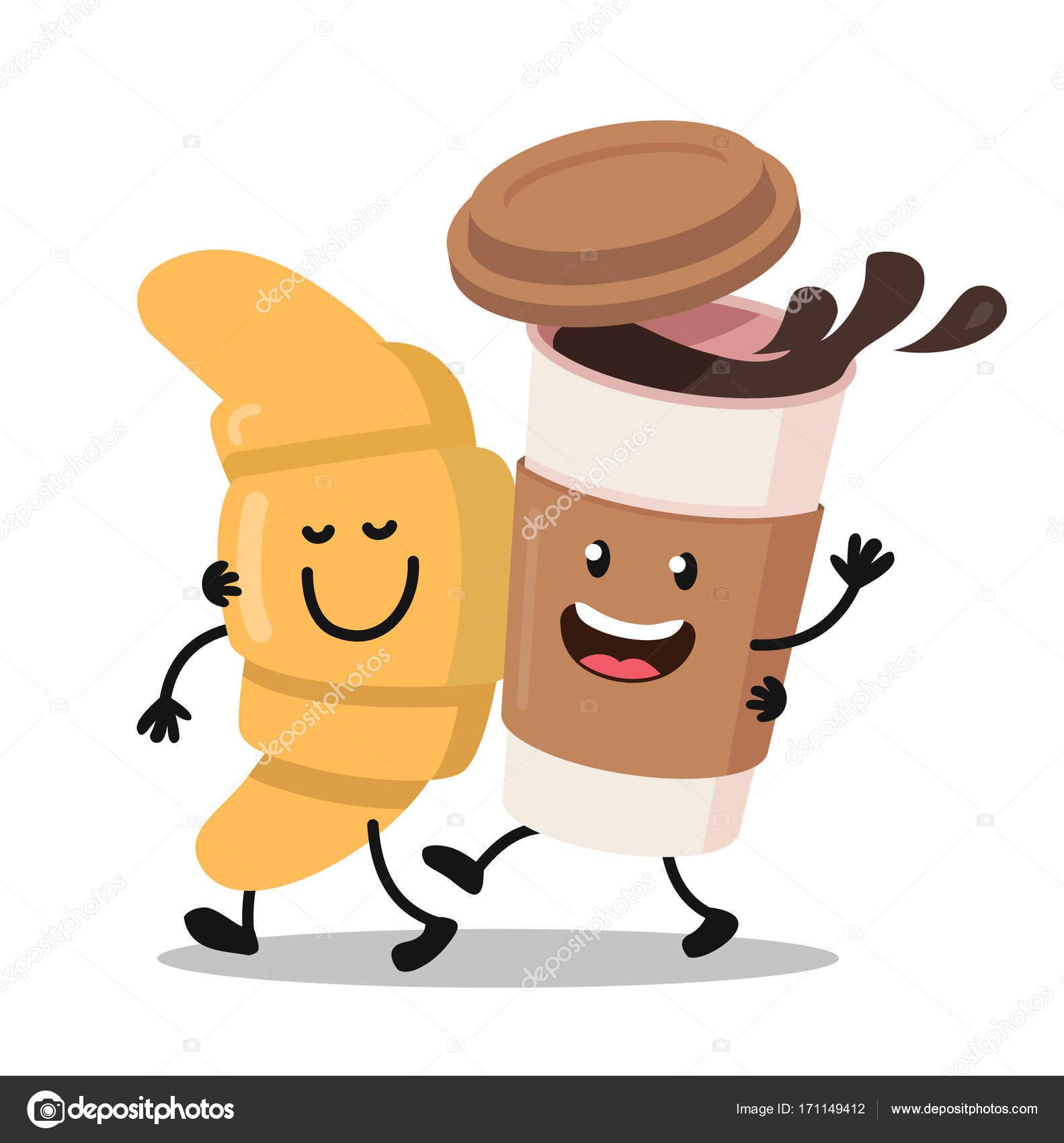 Lustige Comic Figuren Kaffee Und Croissant Stockvektor C Bioraven