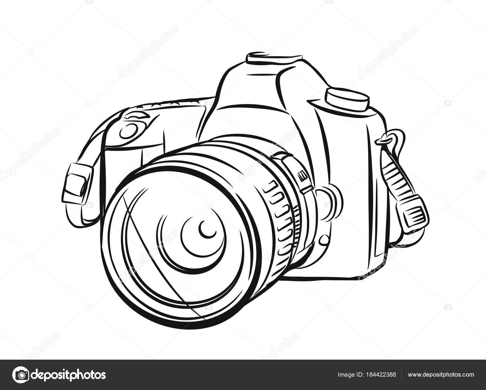 moderne kamera im umriss stil stockvektor 169 bioraven