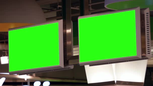 Zelená billboard pro vaši reklamu v tv uvnitř jídelny v Burnaby shopping mall.