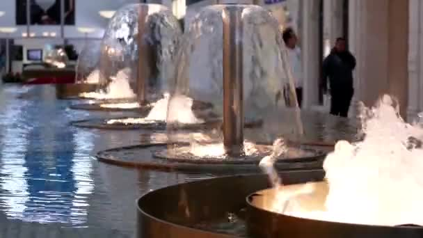 Motion Of Fountain Water With Blur People Shopping Inside Mall U2014 Stock Video