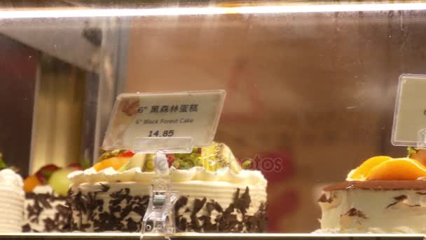 Motion of display birthday cakes inside fridge