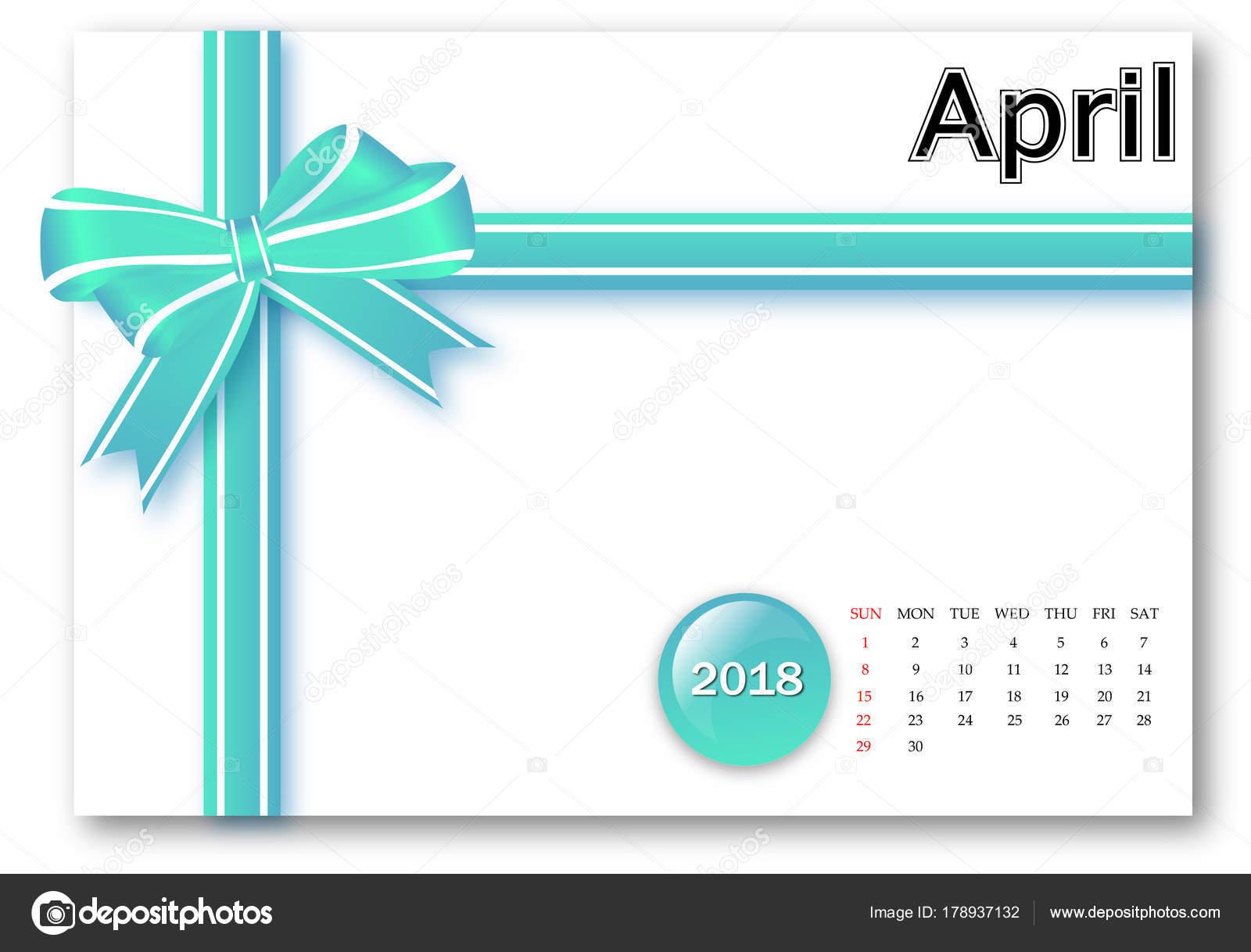 Calendario Aprile 2018 Serie Con Disegno Fiocco Regalo Foto