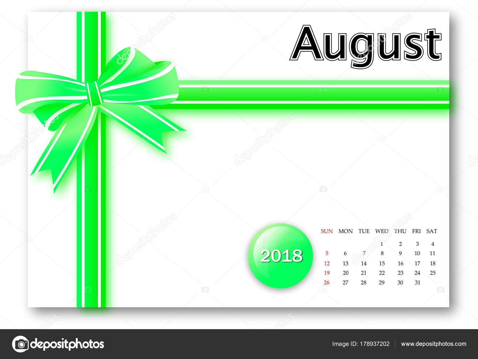 Calendar Ribbon Design : August calendar series with gift ribbon design