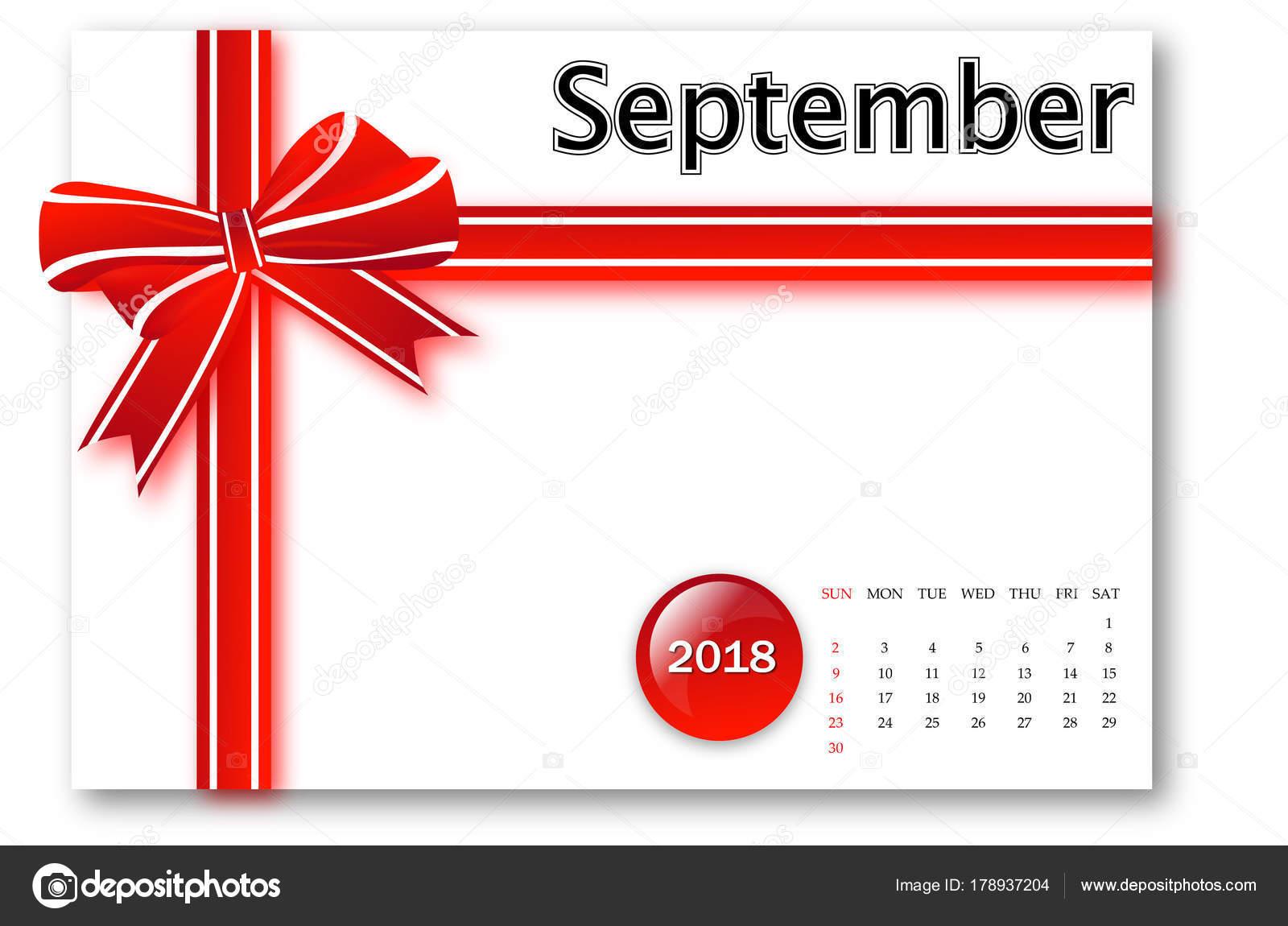 Settembre 2018 Calendario Serie Con Disegno Fiocco Regalo Foto