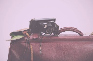 Old brown leather suitcase ready for travelling Vintage Retro Fi