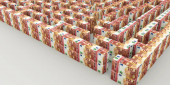 3d rendering of a maze made from euro banknotes isolated on white