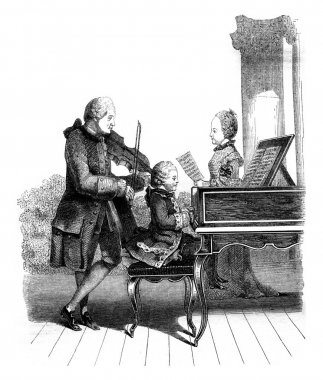 Mozart, his sister and their father, in Paris, vintage engraving
