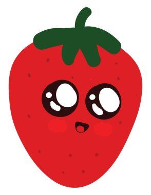 Cute strawberry, illustration, vector on white background.