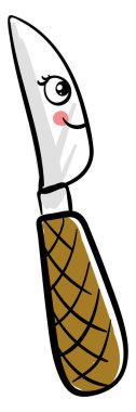 Happy knife, illustration, vector on white background.