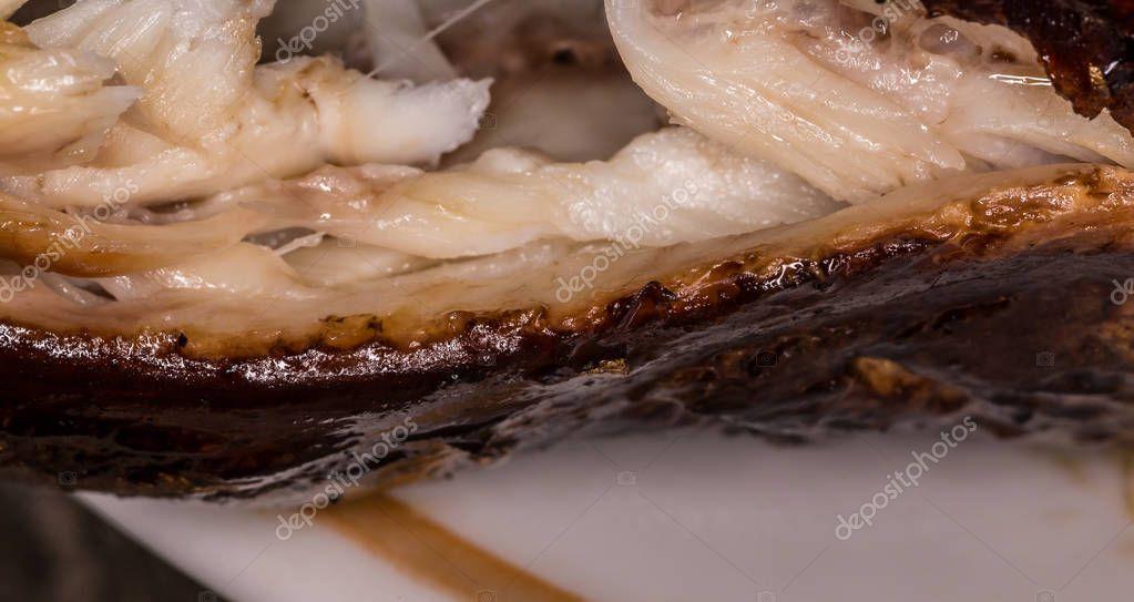 Hot smoked fish. Smoked meat. Smoked fish. Rye smoked fish.