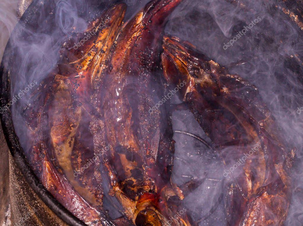 Hot smoked fish. Smoke. Smoked meat. Smoked fish. Rye smoked fish.