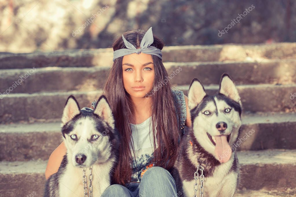 Pretty girl and her pets