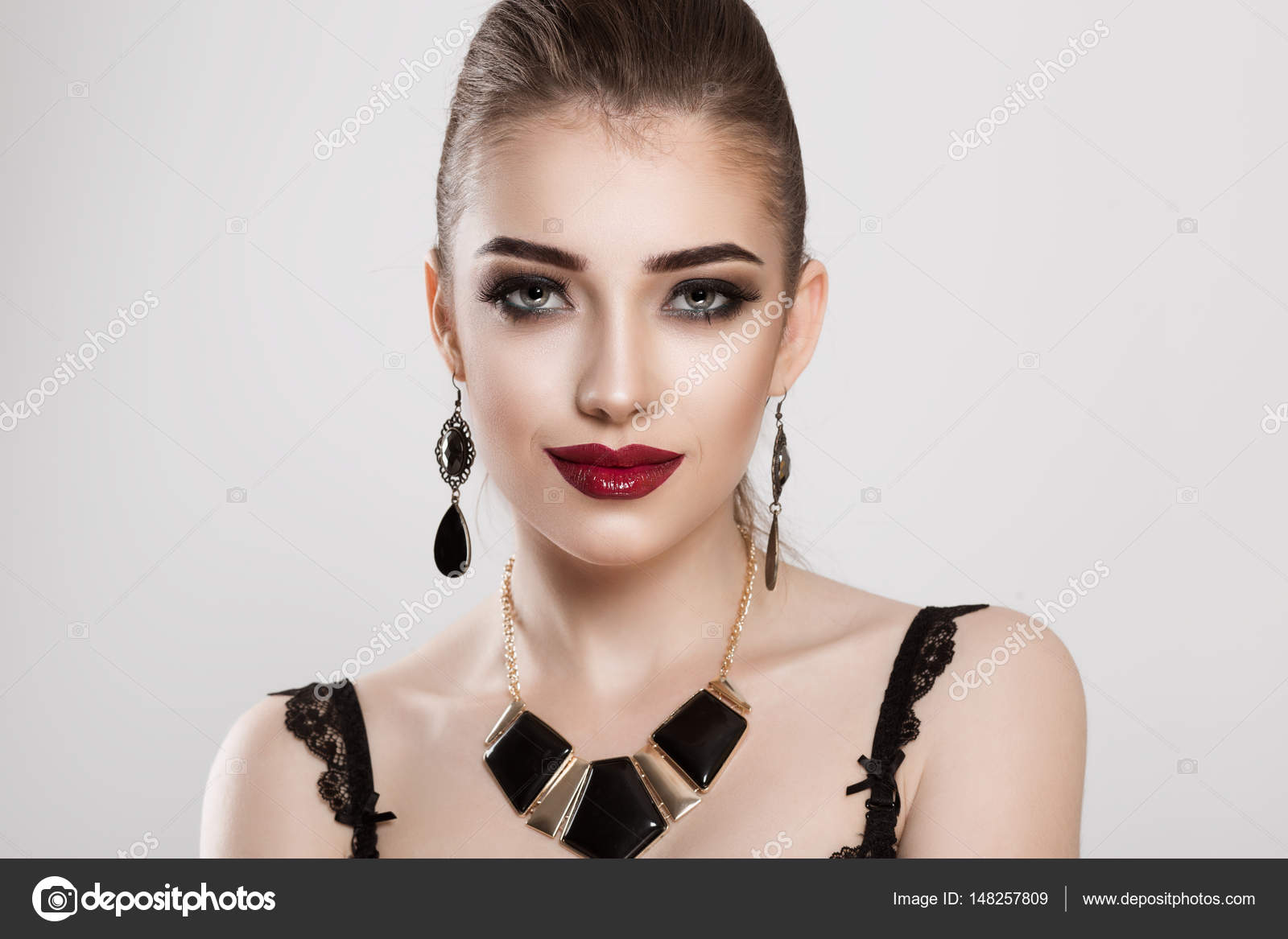 Beauty Fashion Model Girl With Smokey Eyes Makeup Burgundy