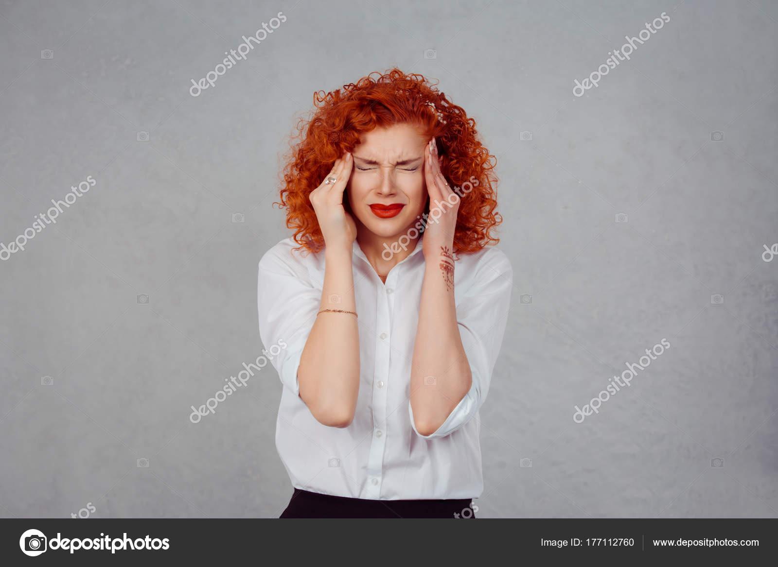 Sadness and depression  Portrait stressed sad young redhead