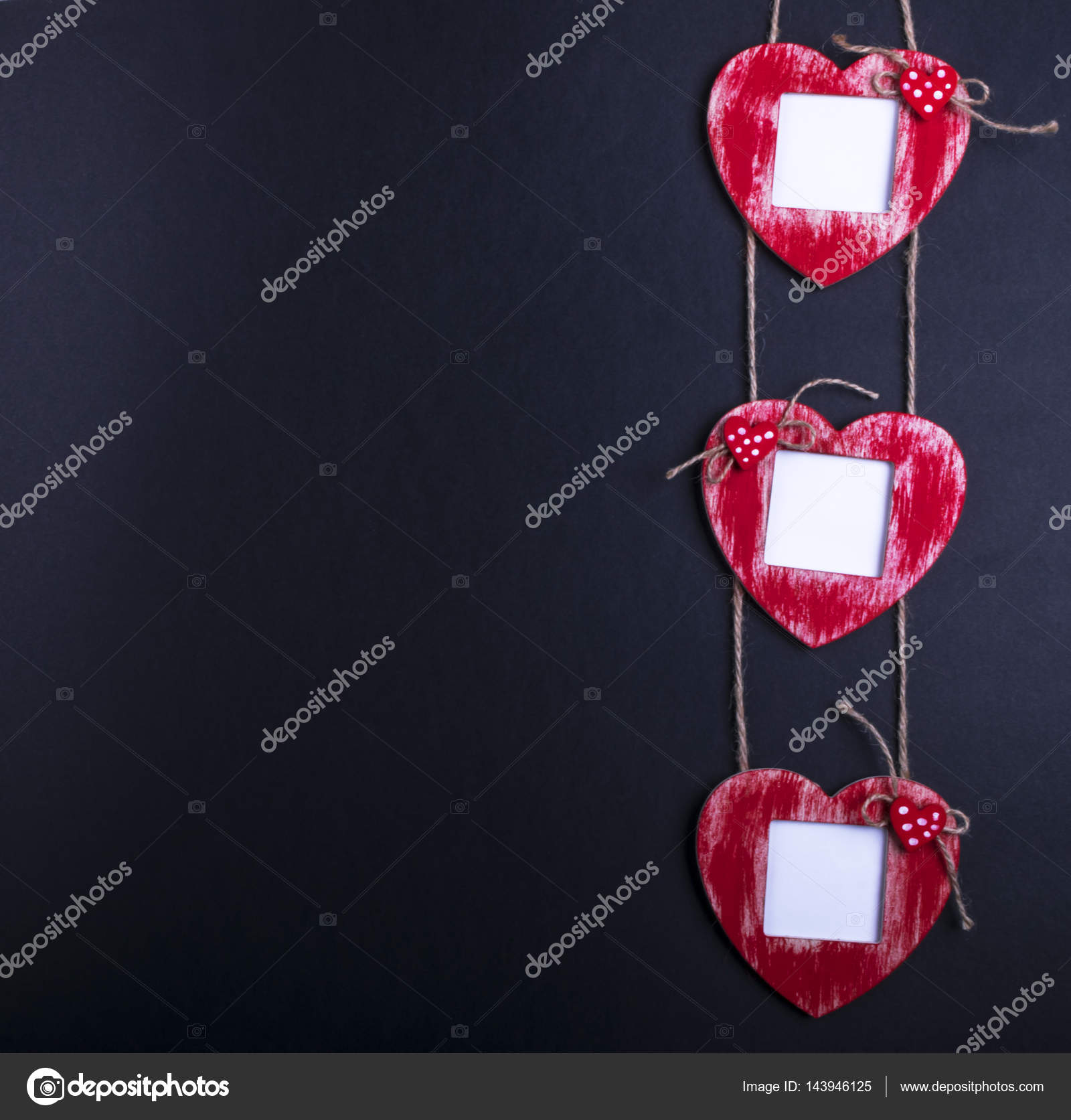 Love Card Template With Blank Photo Frame Heart Shaped On The Red