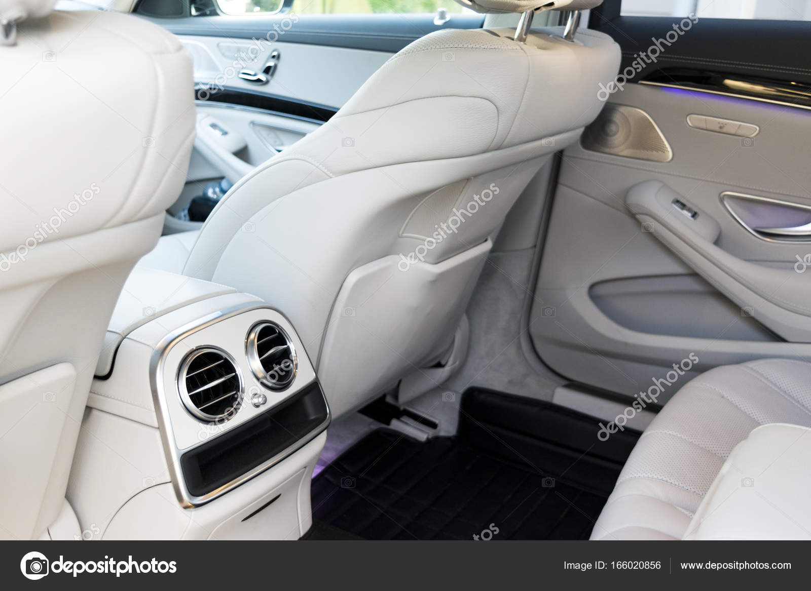 White Leather Interior Of The Luxury Modern Car Leather Comfortable