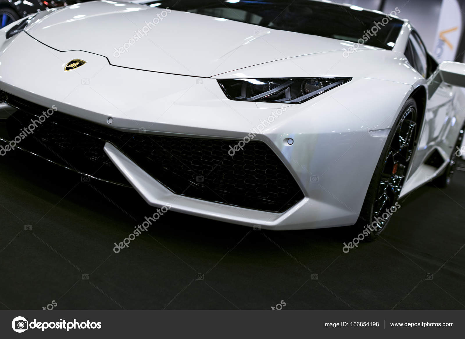 Front View Of A White Luxury Sport Car Lamborghini Huracan Lp 610 4