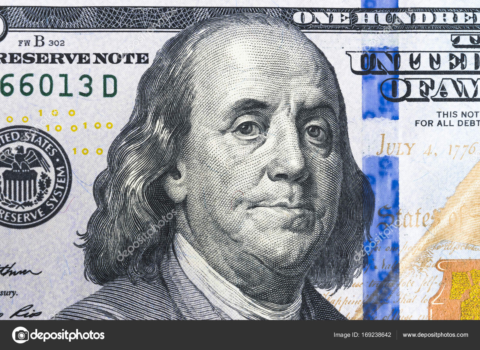 Close Up Overhead View Of Benjamin Franklin Face On 100 Us Dollar Bill Us One Hundred Dollar Bill Closeup Heap Of One Hundred Dollar Bills On Money
