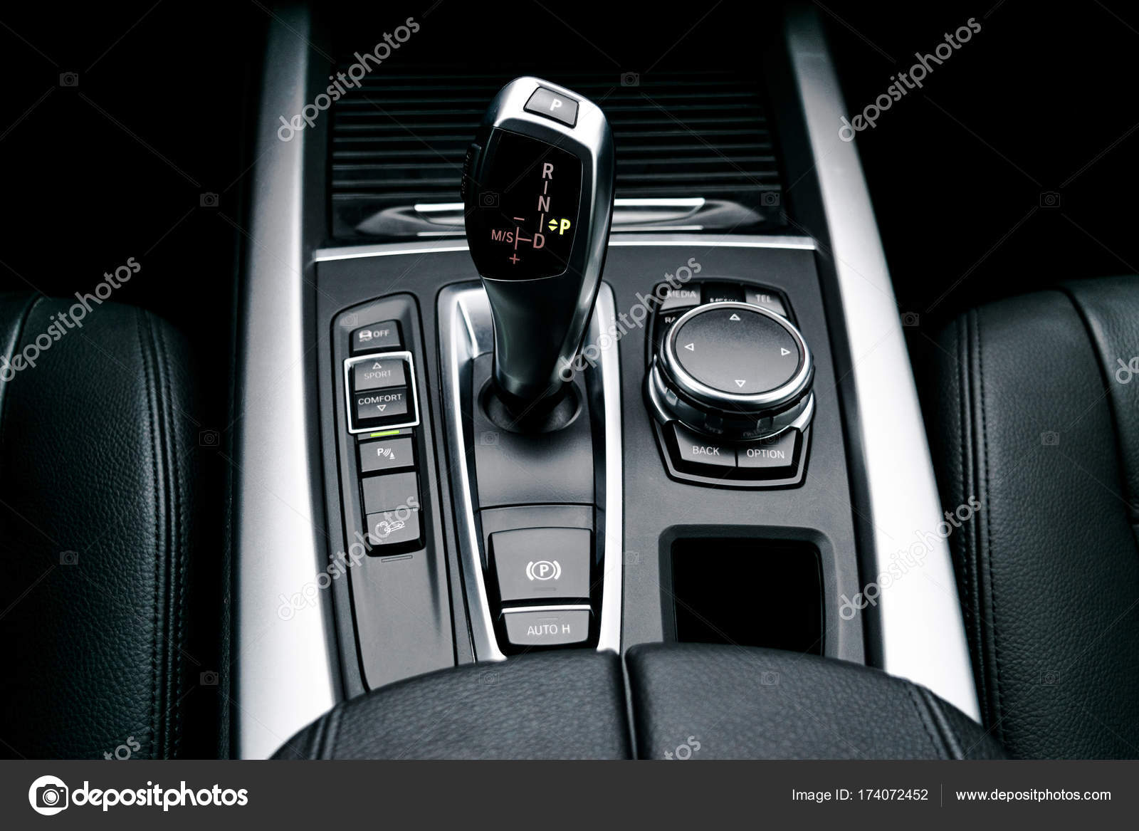Automatic gear stick (transmission) of a modern car, multimedia and