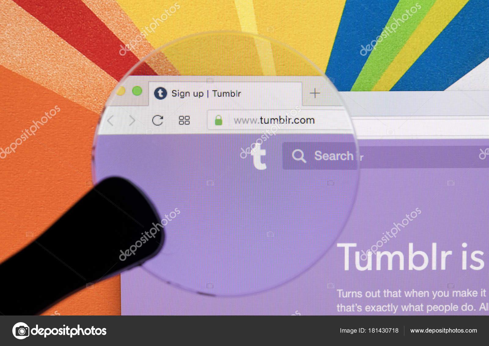 sankt petersburg russia january 2018 apple imac tumblr homepage