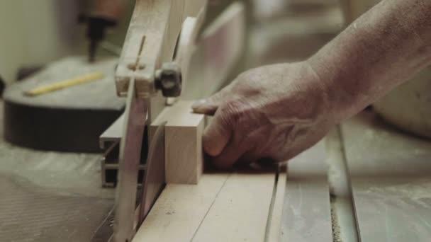 Řezání dřeva s kotoučovou pilou v dílně přední shot zručný řemeslník