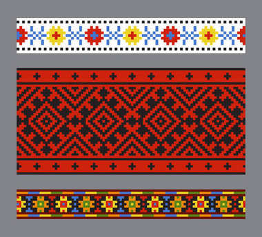 Ethnic Ukrainian seamless patterns