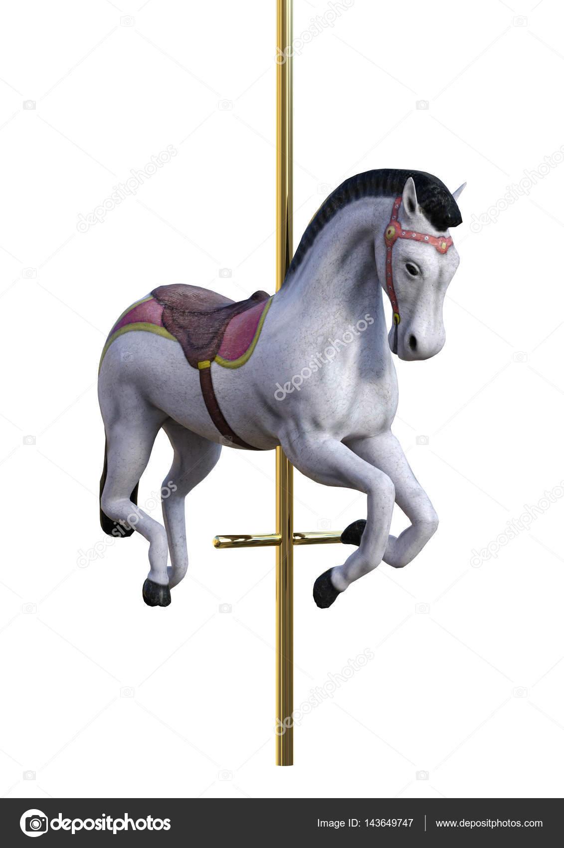3D Rendering-Karussell-Pferd auf weiß — Stockfoto © PhotosVac #143649747