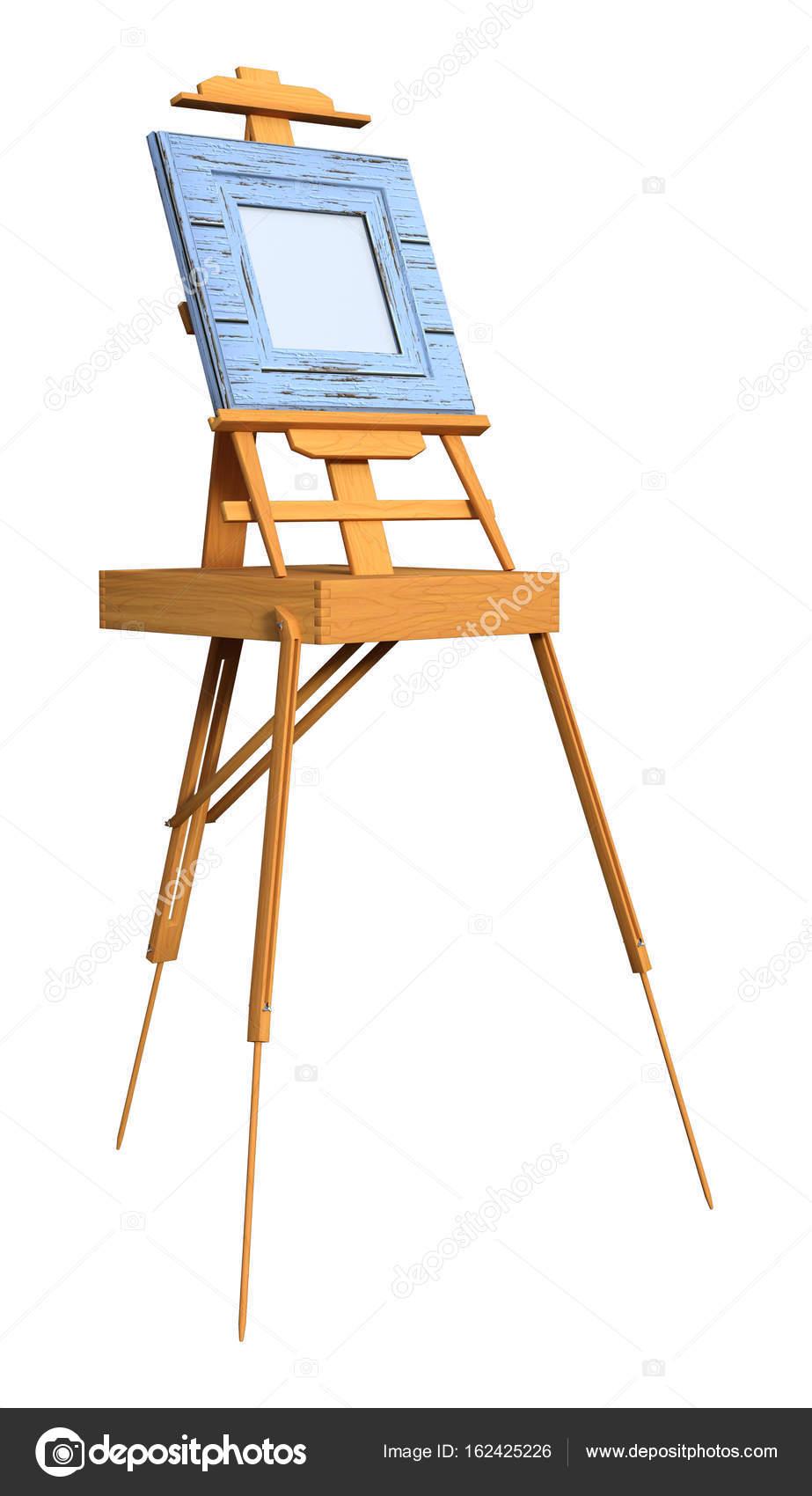 3d Rendu Art Cadre Sur Chevalet En Bois Blanc Photographie