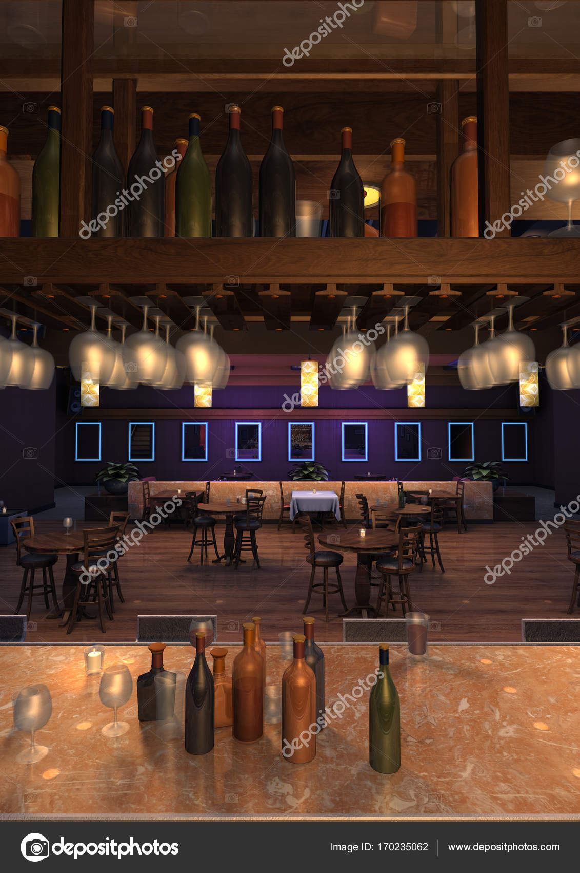 3D Rendering-Lounge-Bar-Interieur — Stockfoto © PhotosVac #170235062