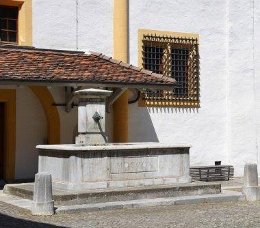 Old city fountain in Neuchatel Switzerland
