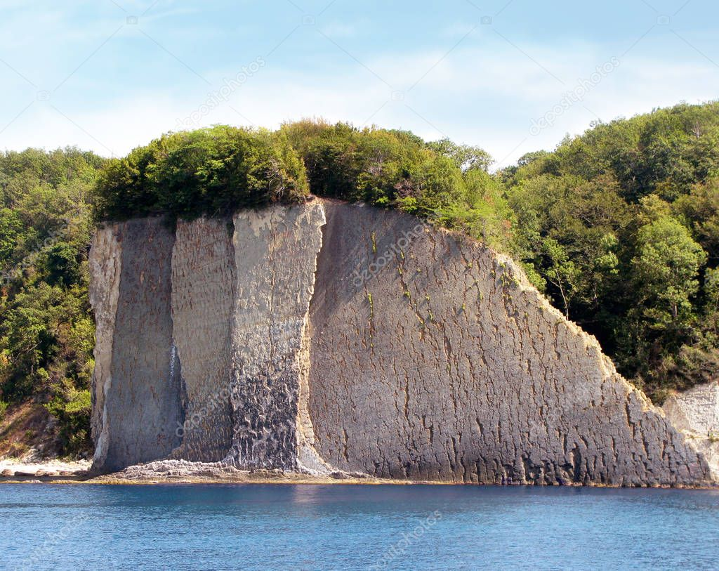 Kiselev Cliff also known as Cliff of Tears, Tuapse, the Black Sea, Russia. The cliff towers 46 meters above the sea. Popular tourist destination