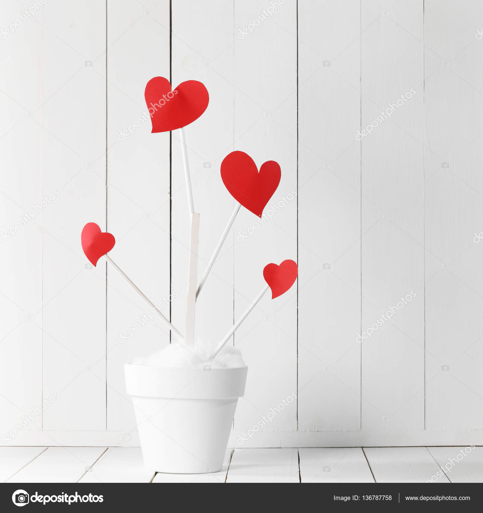 Love Tree In Flower Pot Stock Photo Yellow2j 136787758
