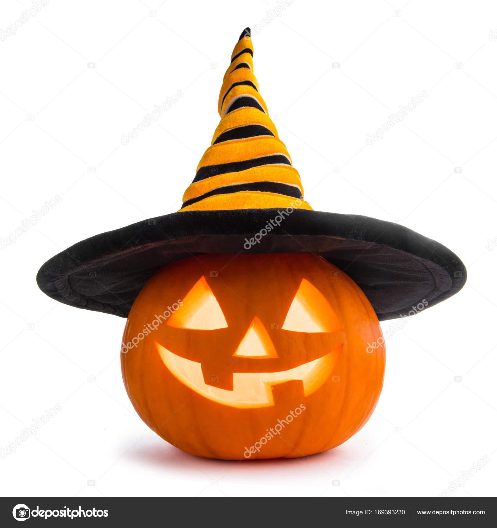 zucca di Halloween con cappello di streghe — Foto Stock © yellow2j ... 662dffb9f7ad