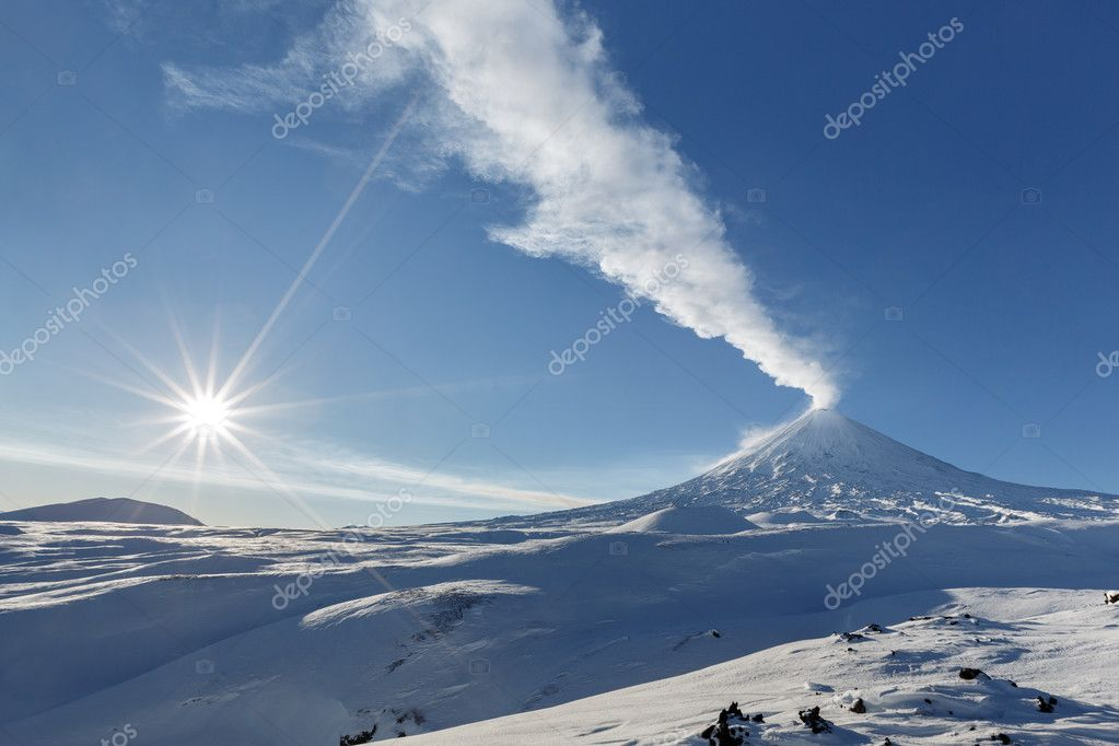 Winter view of eruption active Klyuchevskoy Volcano. Kamchatka Peninsula