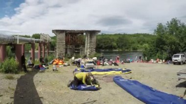 Packaging rafts after rafting on river for subsequent transport