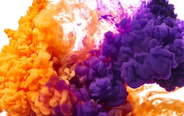 Splashes of orange and purple paints