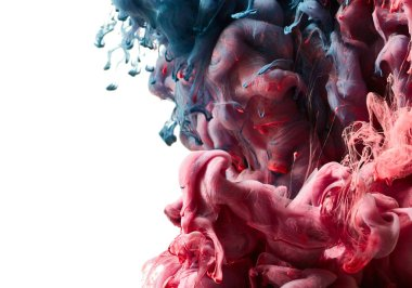 Red and blue paint splash