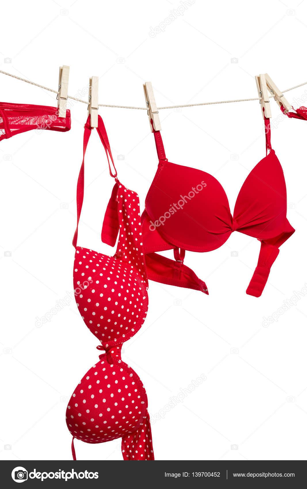 b0de737d2a Ropa interior femenina rojo colgando de la cuerda aislada sobre fondo blanco  - imágenes  ropa interior femenina — Foto de ...