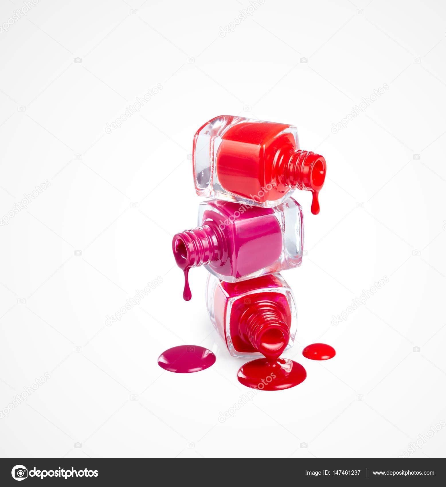 Stack Bottles Spilled Nail Polishes Isolated White Background ...