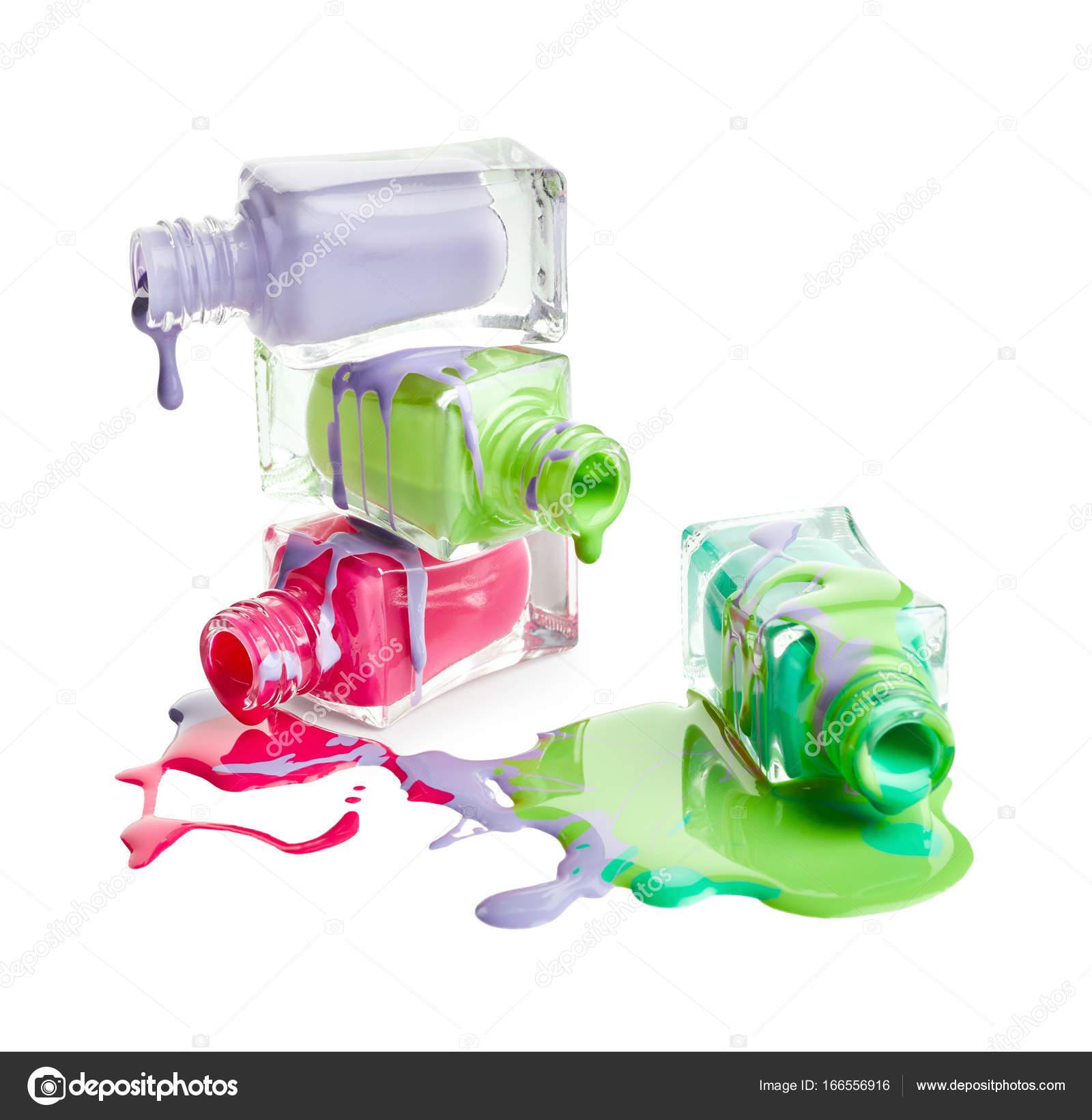botellas con esmalte de uñas derramado — Fotos de Stock ...