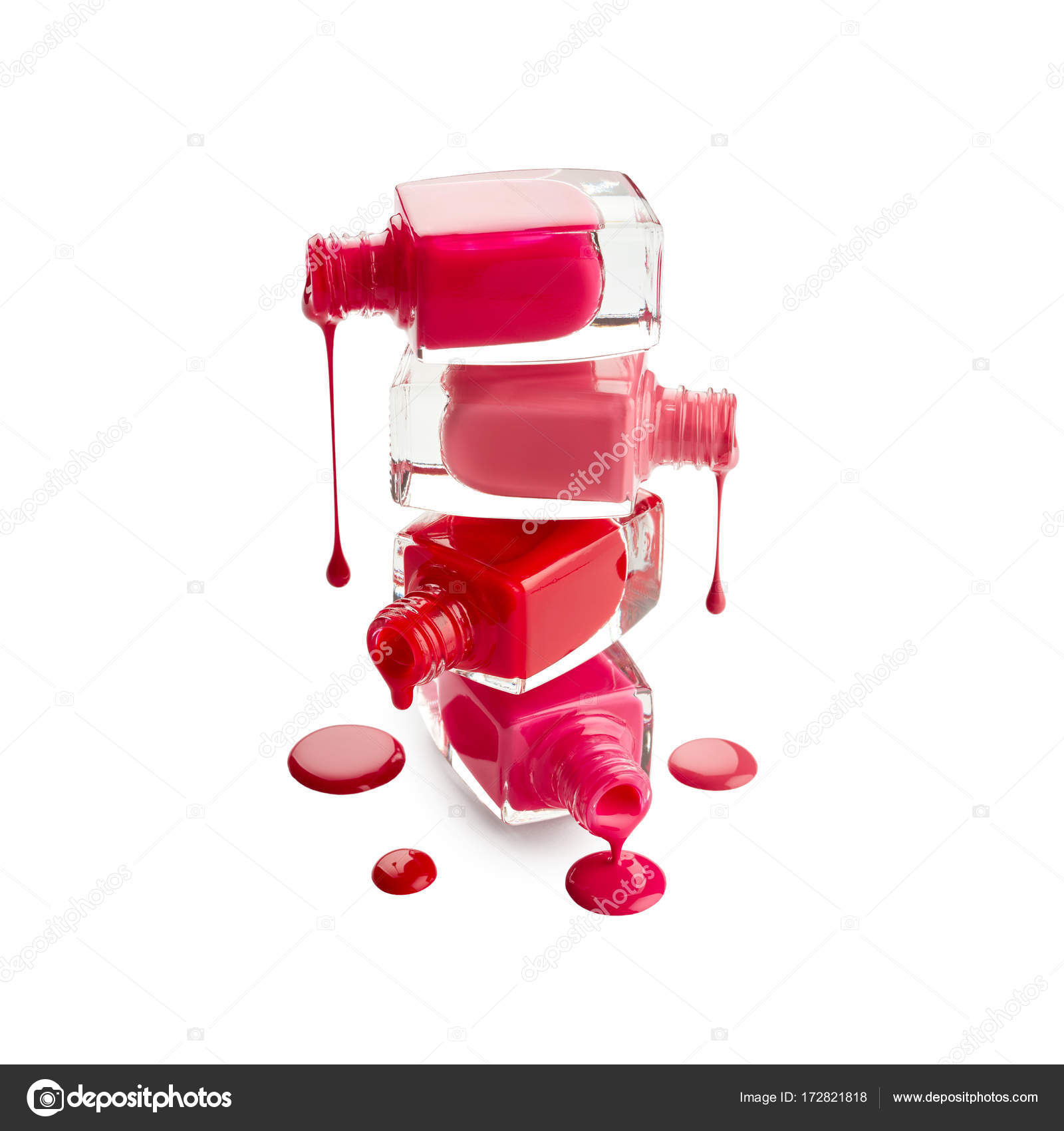 Stack of bottles with spilled nail polish — Stock Photo ...